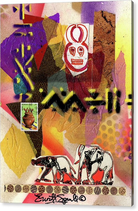 Everett Spruill Acrylic Print featuring the painting Afro Collage - O by Everett Spruill