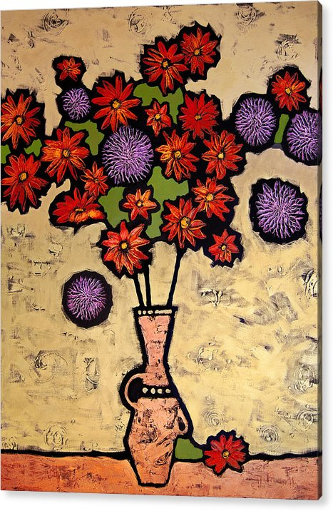 Still Life Acrylic Print featuring the painting Red and Purple by Farhan Abouassali