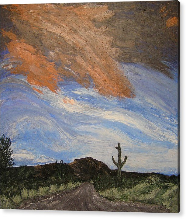Landscape Acrylic Print featuring the painting The Lonely Road by Ricklene Wren