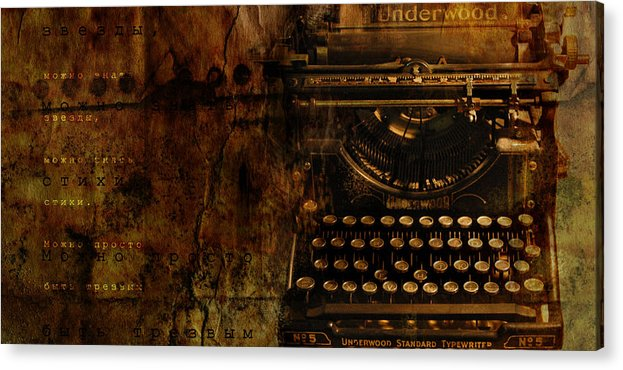 Typewriter Poetry Writing Acrylic Print featuring the photograph Typewriter by Inesa Kayuta