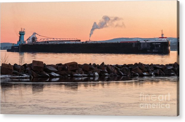 Water Acrylic Print featuring the photograph Ore Boat Glow by Upper Peninsula Photography
