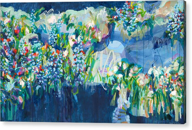 Abstract Acrylic Print featuring the painting Full Bloom by Claire Desjardins