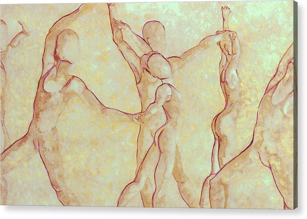 Watercolor Acrylic Print featuring the painting Dancers - 10 by Caron Sloan Zuger