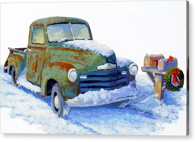 Old Truck Acrylic Print featuring the painting Jingle Bells by Bob Adams