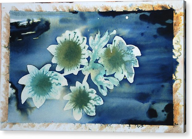 Blue Flowers Ink Dreamy Dream Blossom Acrylic Print featuring the painting The Hopes And Dreams Of A Blossom On A Lake by Amy Bernays
