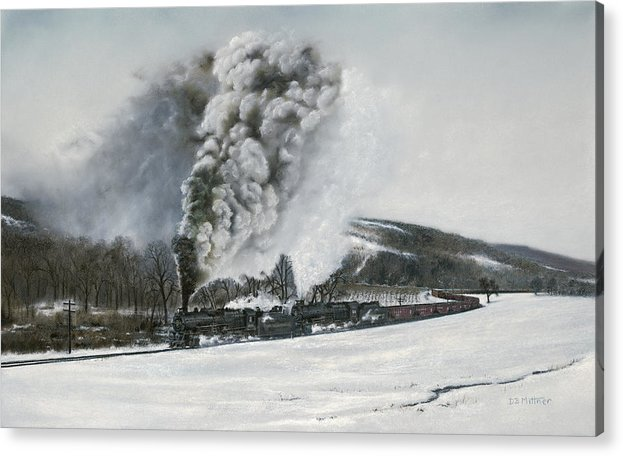 Trains Acrylic Print featuring the painting Mount Carmel Eruption by David Mittner