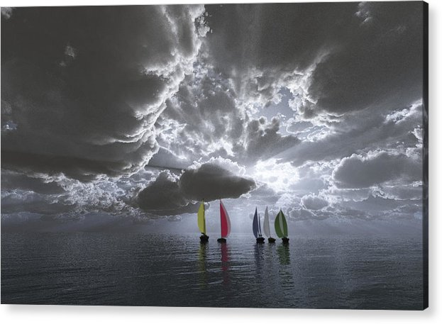 Clouds Acrylic Print featuring the digital art Sailing by Margaret Wingstedt