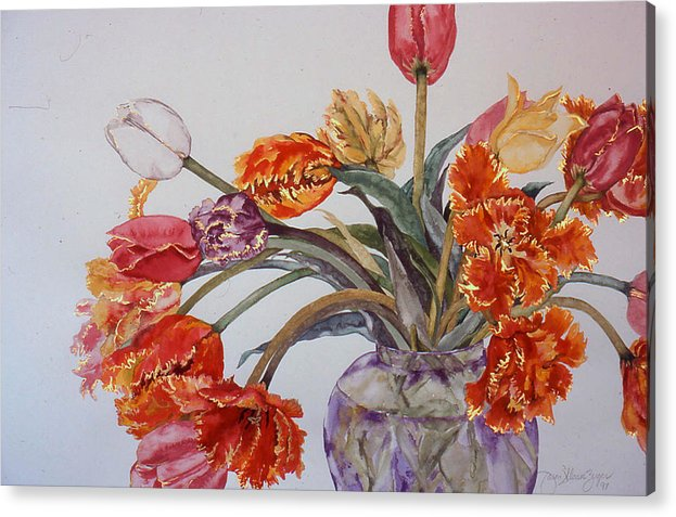 Watercolor Acrylic Print featuring the painting Tulip Bouquet - 12 by Caron Sloan Zuger