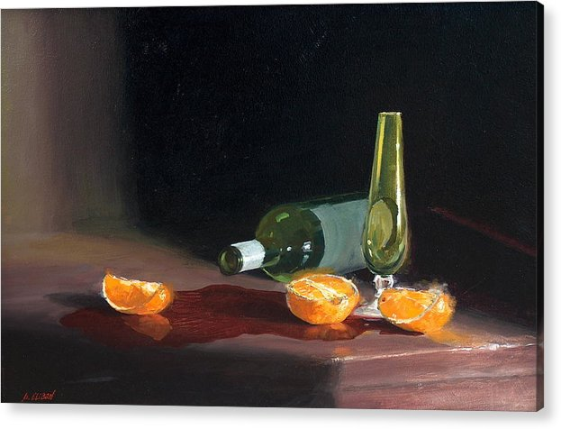 Still Life Acrylic Print featuring the painting Wine And Oranges by Greg Clibon