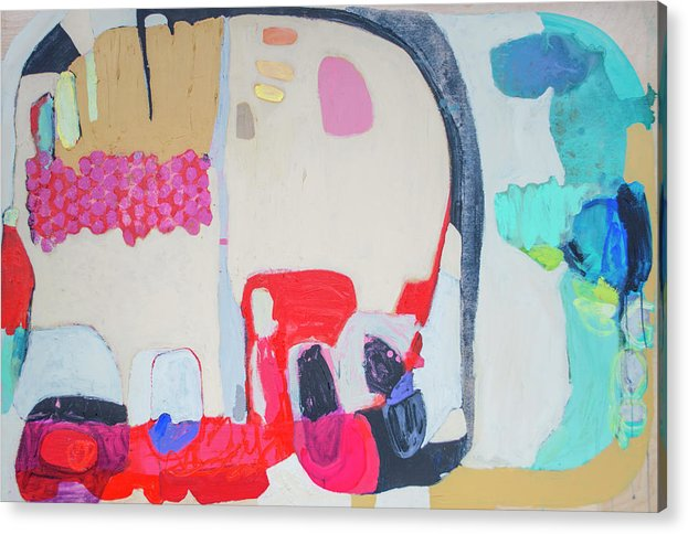 Abstract Acrylic Print featuring the painting Fast Friends by Claire Desjardins
