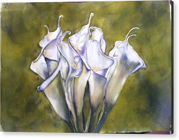 Callas Acrylic Print featuring the painting Callas 2 by Diane Ziemski