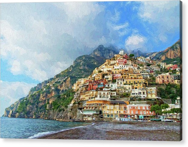 Greeting Card Acrylic Print featuring the photograph Positano Beach View Painting by Allan Van Gasbeck