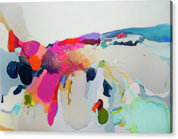 Abstract Acrylic Print featuring the painting Reach In Reach Out by Claire Desjardins