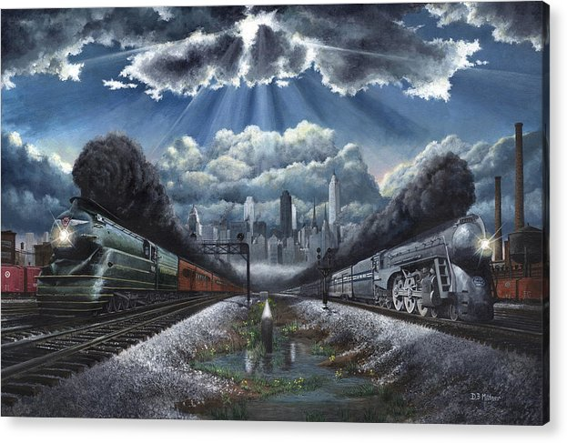 Trains Acrylic Print featuring the painting The Race by David Mittner