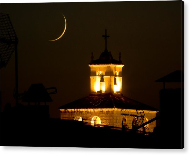 Moon Acrylic Print featuring the photograph Moon On The Cathedral - Luna Sobre La Catedral by Felix Mazo