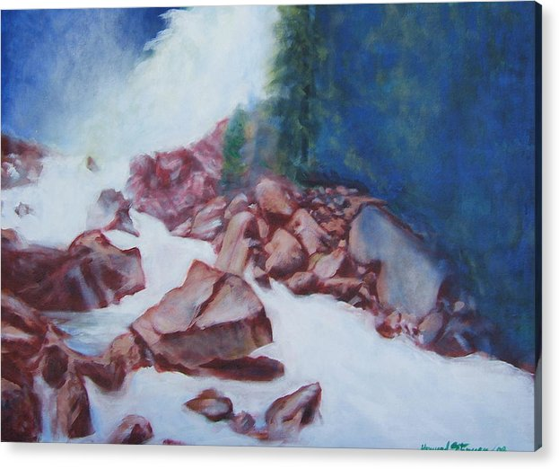 Landscape Acrylic Print featuring the painting White Water And Solid Rock by Howard Stroman