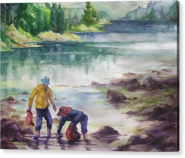 Acrylic Print featuring the painting Beachcombers by Barbara Field
