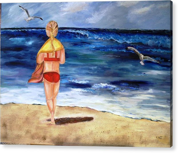 Children Acrylic Print featuring the painting A Day At The Beach by Pamela Squires