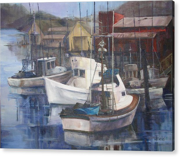 Busy Fishing Marina In Oregon Acrylic Print featuring the painting Home Port by Barbara Field