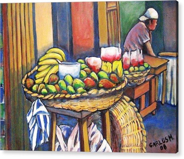 Granada Acrylic Print featuring the painting Market Merchant Of Granada by Carlos Morales