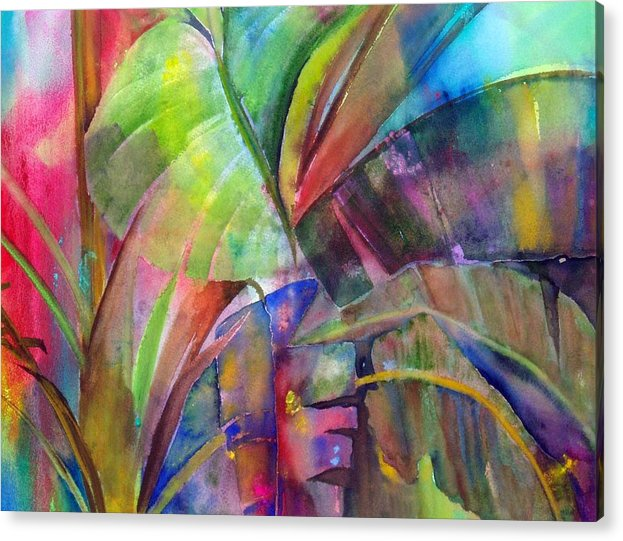 Tropical Tree/plant Acrylic Print featuring the painting Banana Leaves IIi by Maritza Bermudez