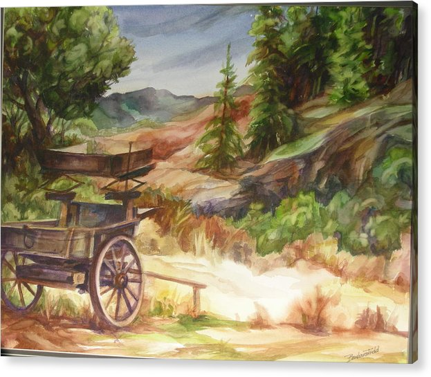 Old West Scenic Landscape Acrylic Print featuring the painting Old West by Barbara Field