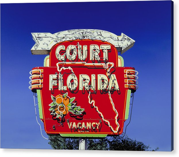 Neon Acrylic Print featuring the painting Court Florida by Randy Ford
