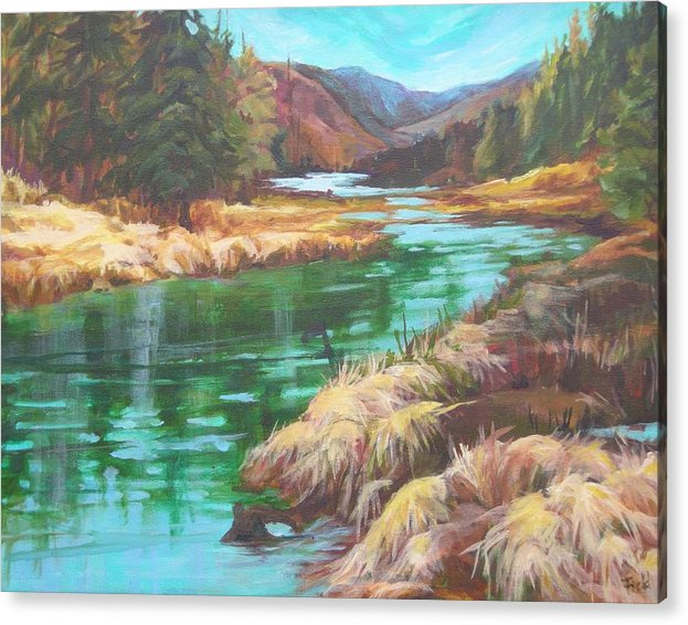 Ithe Pack River Winding By Marsh Grass And Vibrant Woods Acrylic Print featuring the painting Pack River Color by Barbara Field