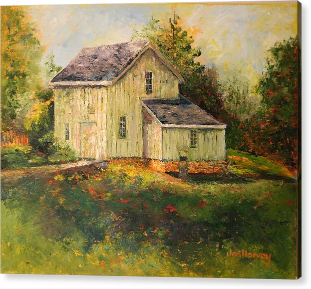 Landscape Acrylic Print featuring the painting Pine Hill Barn by Jan Harvey