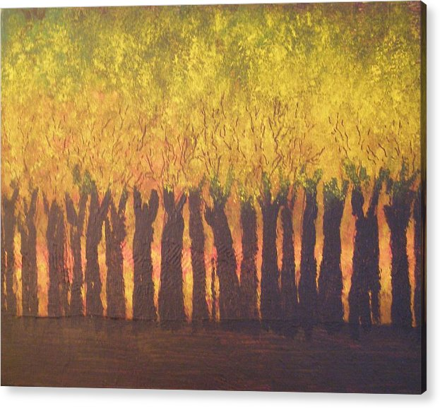 Abstract Expressionism Acrylic Print featuring the painting October Trees At Sunset by Don Phillips