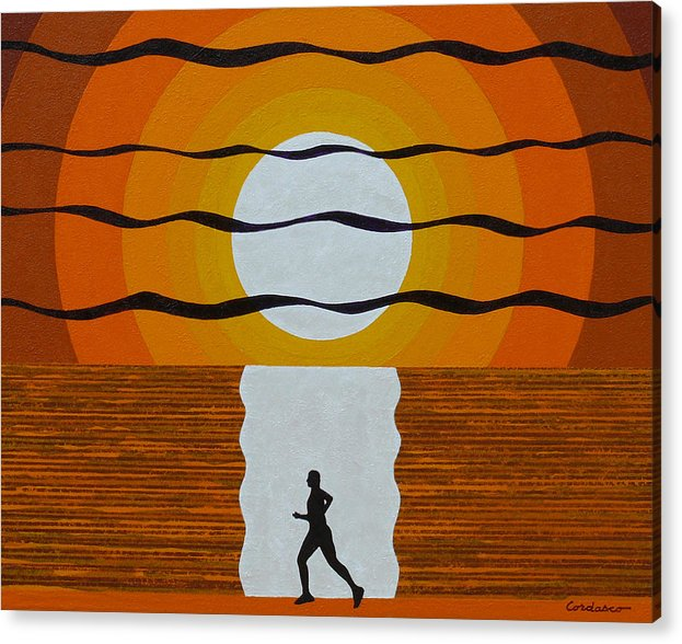 Jogger Acrylic Print featuring the painting Sunrise Jogger by James Cordasco