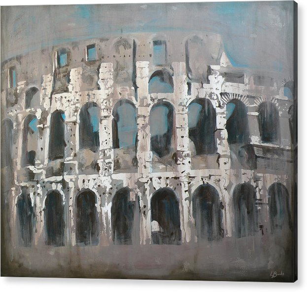 Roman Colosseum Acrylic Print featuring the painting Roma Colosseo by Leigh Banks