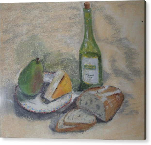 Wine And Cheese Acrylic Print featuring the painting Waiting by Bennie Batson