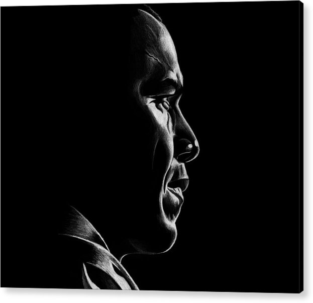 Barack Acrylic Print featuring the drawing Mr. President by Jeff Stroman