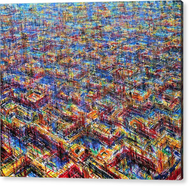 Architexture Acrylic Print featuring the painting Citypattern by De Es Schwertberger