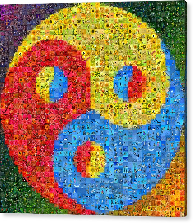 Mosaic Acrylic Print featuring the digital art Triality by Gilberto Viciedo