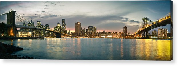 New York City Acrylic Print featuring the photograph New York City - Brooklyn Bridge To Manhattan Bridge Panorama by Thomas Richter