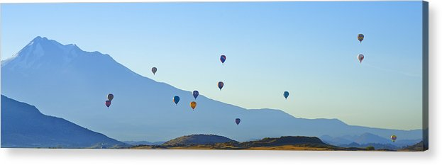 Loree Johnson Acrylic Print featuring the photograph Shasta Balloon Panorama by Loree Johnson