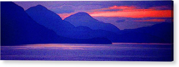 Pacific Acrylic Print featuring the photograph After Sunset Mountains 5 Pd by Lyle Crump