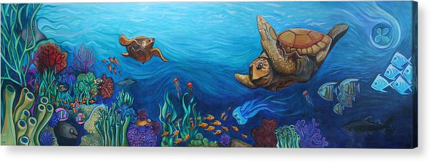 Sea Acrylic Print featuring the painting Sea Life by Kate Fortin