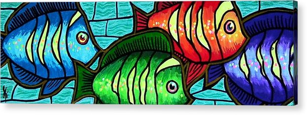 Tropics Acrylic Print featuring the painting Tropic Swim by Jim Harris