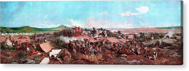 The Battle Of Tetouan Acrylic Print featuring the painting The Battle Of Tetouan - Digital Remastered Edition by Mariano Fortuny