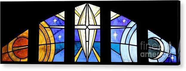 Stained Glass Acrylic Print featuring the glass art Creation Of The Stars by Gilroy Stained Glass