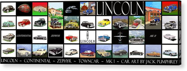 60 Inch Poster Best Ordered As A Metal Print Acrylic Print featuring the painting Poster Of Lincoln Cars by Jack Pumphrey