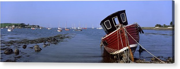 Blue Acrylic Print featuring the photograph Boat Moored In The Sea, Strangford by The Irish Image Collection