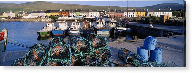 Basket Acrylic Print featuring the photograph Fishing Boat Moored At A Harbor by The Irish Image Collection