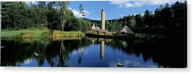 Archaeology Acrylic Print featuring the photograph Tower Near A Lake, Round Tower, Ulster by The Irish Image Collection