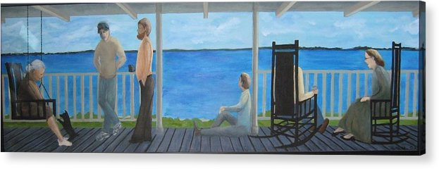 Seascape Acrylic Print featuring the painting Porch People by Sheryl Sutherland