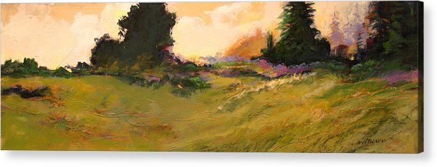 Landscape Acrylic Print featuring the painting Evening Meadow by Dale Witherow