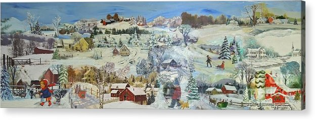 Landscape Acrylic Print featuring the painting Winter Goose - Sold by Judith Espinoza